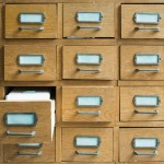 Old archive with wooden drawers